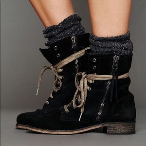Free People Mtng Black Suede Greyson Boots Sz 36
